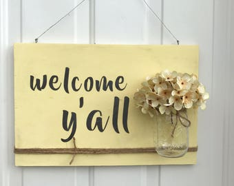 Welcome Y'all Sign, Mason Jar Wall Decor, Rustic Porch Decor, Wall Hanging, Door Decor, Mason Jar Decor, Country Office Art, Flower Vase