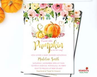 Little Pumpkin Baby Shower Invitation. Girl Fall Baby Shower Invitations. Watercolor Floral Pumpkin. Gold Foil. Printable Digital File. C42