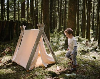 Play A-Frame Tent Teepee Organic Cream Natural Canvas Rustic Distressed
