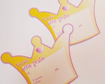 PRINCESS Invitation cards for party-shaped crown 20 or 30 PCs printed on cardboard 210 gr to fill with your party data