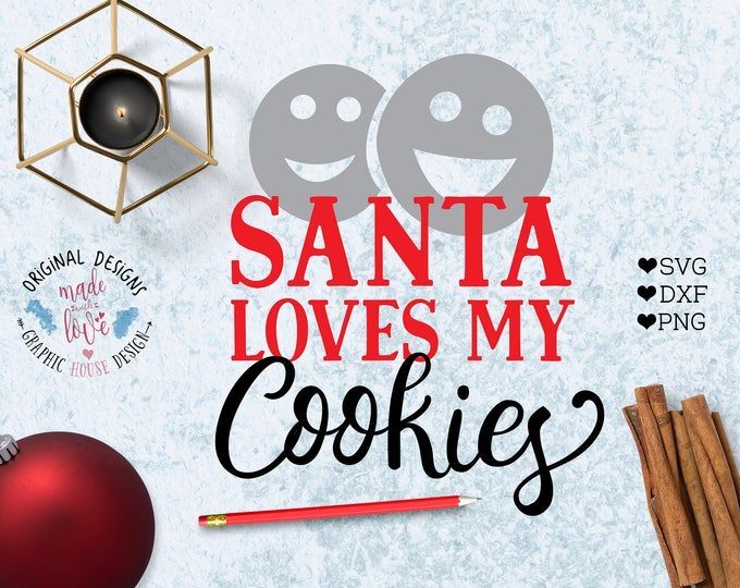 Christmas svg, Santa svg, Santa loves my cookies svg, Santa Claus SVG, Santa Claus Cut File, Christmas cookies svg, Christmas Santa cut file