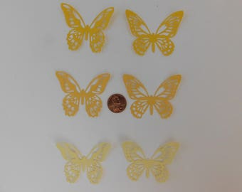 Butterfly Die Cuts 30 small Yellow butterflies paper embellishment scrapbook cardmaking cupcake topper Wedding Confetti Baby shower confetti