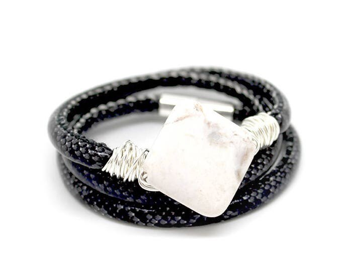 BAS x WFDN black snake skin bracelet/necklace with Brazilian agate and wire twist metal detail