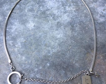 Sterling and silver metal watch chain with fob