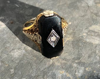 Art Deco onyx and diamond 14k ring with box