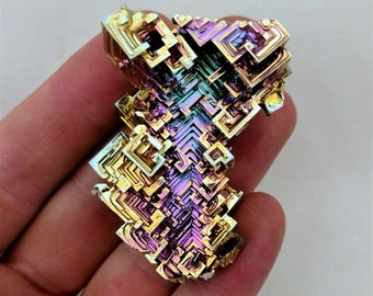 Rainbow Bismuth Crystal 87g Lab Grown Jewelry Display Specimen Educational Metaphysical Metal Healing Stone