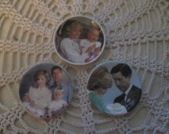 Royal Regal Miniature Plates - Princess Diana, Prince Charles, Prince William and Prince Harry