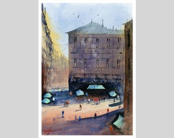 Fine Art Print of Madrid Spanish Watercolour Painting Signed Cityscape Spain Scene Urban Giclee High Quality Vibrant Impressionist Landscape