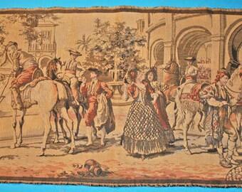"Vintage Tapestry Wall Hanging - Spanish Scene Ladies And Gentlemen 41-1/2"" x 19"""