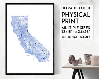 Waterways of California print   Physical California map print, California poster, California wall art, California map art, California art