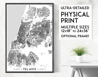 Buildings of Tel Aviv print | Physical Tel Aviv map print, Tel Aviv poster, Tel Aviv map art, Tel Aviv art, Tel Aviv wall art, Israel map