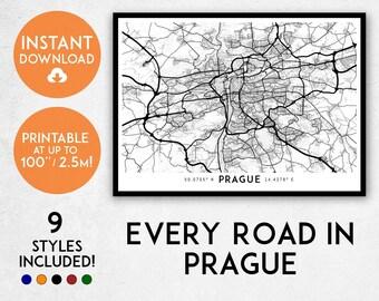Prague map print, Printable Prague map art, Prague print, Czechia map, Prague art, Prague poster, Prague wall art, Czech Republic map print