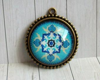 Purity : Mandala Pendant Gift for Girlfriend Birthday blue Om Chakra Meditation