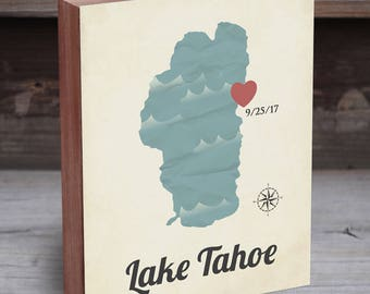 Lake Tahoe Art - Lake Tahoe Wedding - Lake Tahoe Map - Lake Tahoe Wedding Invites - Lake Tahoe Gift - Lake Tahoe Print - Lake Tahoe Wall Art