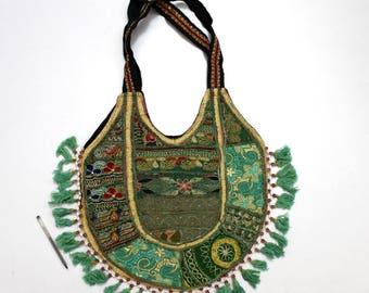 Handmade Ethnic Designer Tribal Banjara Patchwork Embroidered Hippy Fashionable Stylish Trendy Hippie Gypsy Boho Bohemian Shopper Bag F164