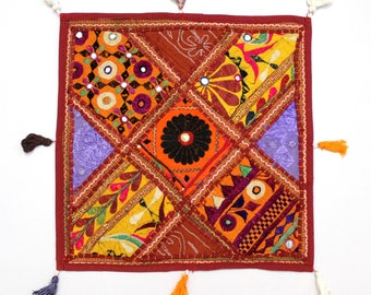 Handmade Hippie Gypsy Home Decor Ethnic Multi color Embroidered Hippy Patchwork Bohemian Pillow Shams Couch Cushion Cover Case G763