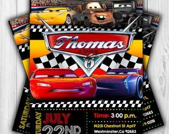 Disney Cars 3 Invitation, Cars 3 Birthday Invitation, Disney Cars 3, Cars Party Chalkboard Invite, Digital Invitation Cars 3, Disney Invite