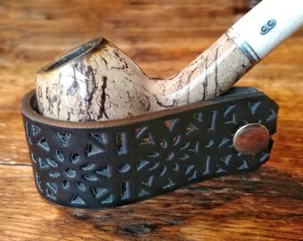 New Black Leather Pipe Stand