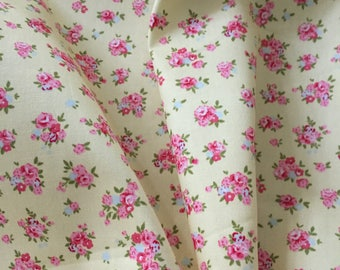 Yellow and pink floral fabric cotton poplin fabric UK