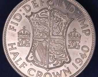 GENUINE 1940 George VI KGVI 50% Silver Half Crown  2/6 excellent coin *[11880]