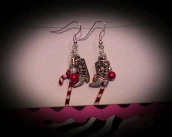 Holiday cowboy boot earrings.