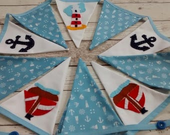 Nautical bunting, seaside bunting, bunting for beach hut, bunting flags, nautical flags, nautical garland, lighthouse bunting, boats, anchor