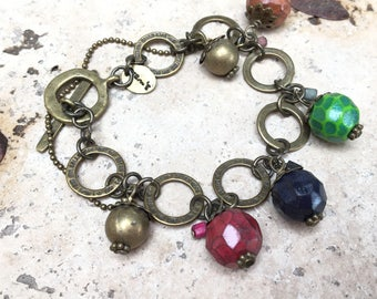 Bracelet Bell handmade fimo facet beads