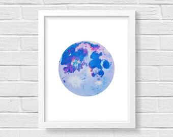 Moon Print, Space Art, Boho Art, Dreamy Moon, Purple Moon, Bohemian Print, Bohemian Decor, Gifts for Her, Space Painting, Minimalist Art