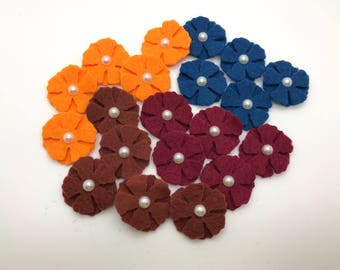 20 pcs Felt Flowers, Wool Felt Flowers, Mini Felt Flower Set.