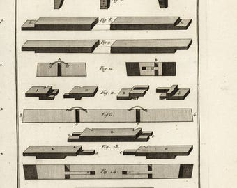1762 Rare engraving from encyclopedia of Diderot - wood making- woodcut engraving