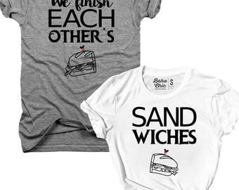 2-Pack t-shirt, We finish each other's Sandwiches, his and hers, best friends, best friend shirts, Christmas Gift, bundle, matching set B108