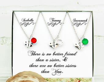 Gifts for sister 3 Sisters necklace Personalized sister gift Sister best friend Unique gifts for sisters Sister birthday Sister jewelry