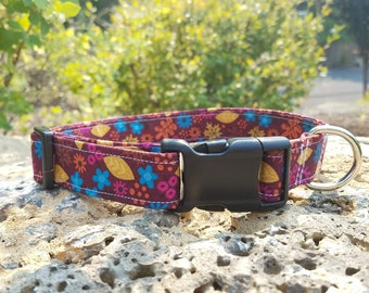 Cute Summer to Fall Flowers and Leafs Pattern Dog Collar. Pink, Yellow, Purple, Blue, and Red.
