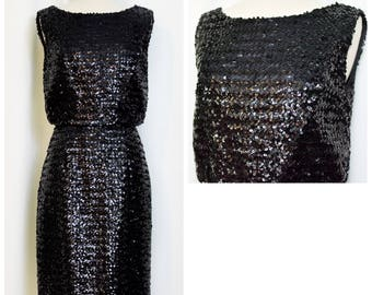 50s Black Sequined Wiggle Dress