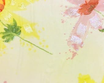 Sequined Hand Painted Chiffon with Large Flowers-- 4 yards