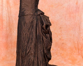 Historical Victorian Steampunk Goth Ball Bustle Dress Size L