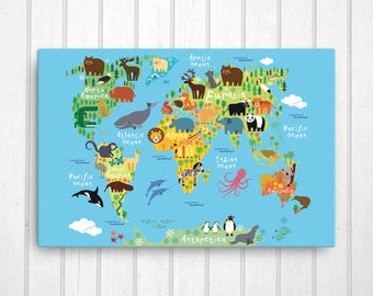 Playroom Art Etsy - World map for playroom