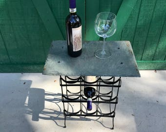 Wine Rack, Slate Top, Hand Crafted, 6 Bottles of Wine,Roofing Slate,Wrought Steel,Stone, Natural Slate