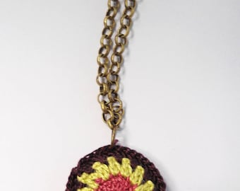 Mini brass pendant and crocheted cotton