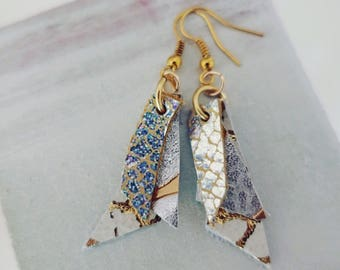 White, Silver, & Gold Leather Earrings (medium)