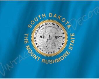 South Dakota State Flag - Mount Rushmore on a Metal Sign