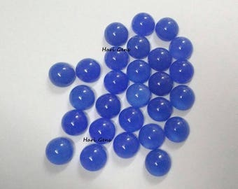 10 piece 5mm blue chalcedony round cabochon loose gemstone - blue chalcedony cabochon round - flat back smooth cabochon deep blue chalcedony