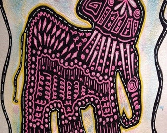 Pink Ellie Art Notecards (set of 6 folded cards with envelopes in a clear box) - doodled elephant art print