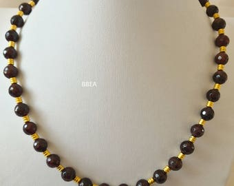 Necklace 10 mm faceted Garnet and gold beads