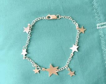 Little Stars Silver Bracelet;  Handmade sterling silver