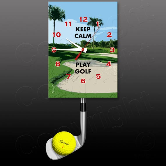 Golf Clock with a Swinging Golf Club Pendulum • Golfer Gift