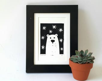 Polar bear linocut, linocut print, bear art card, bear print, original artwork, black and white, nursery wall decor, wall art, baby bedroom