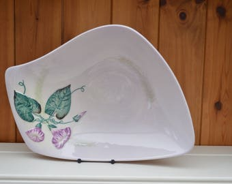 CARLTONWARE Morning Glory serving dish/irregular shaped dish handpainted 1930s vintage pottery