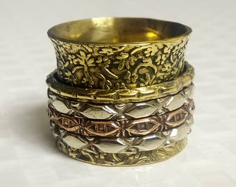 Flower spinner rings | Ethnic banjara rings | Wide meditation jewelry ring | Wide narrow rings | 4 spinning rings | Brass bands ring | R127