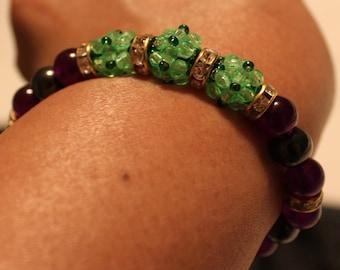 Cute Amethyst, Hematite & glass-beaded shamballa bracelet; handmade, beadweaving, beautiful, casual wear, party wear